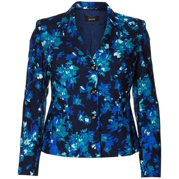 Persona Cipria bluette floral blazer (1.880 NOK) ❤ liked on Polyvore featuring outerwear, jackets, blazers, blue, clearance, blue blazer, blue jackets, blazer jacket, blue blazer jacket and flower print blazer