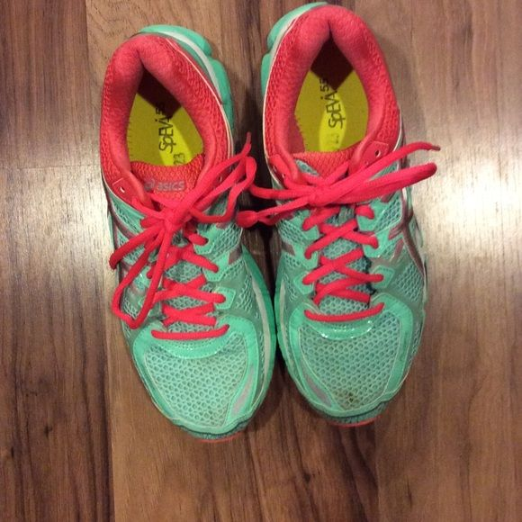 Asics tennis shoes. Pretty mint green and coral or tangerine. Gel