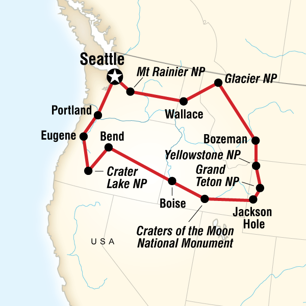 Map Of The Route For National Parks Of The Northwest Us Roaming - North-west-us-map