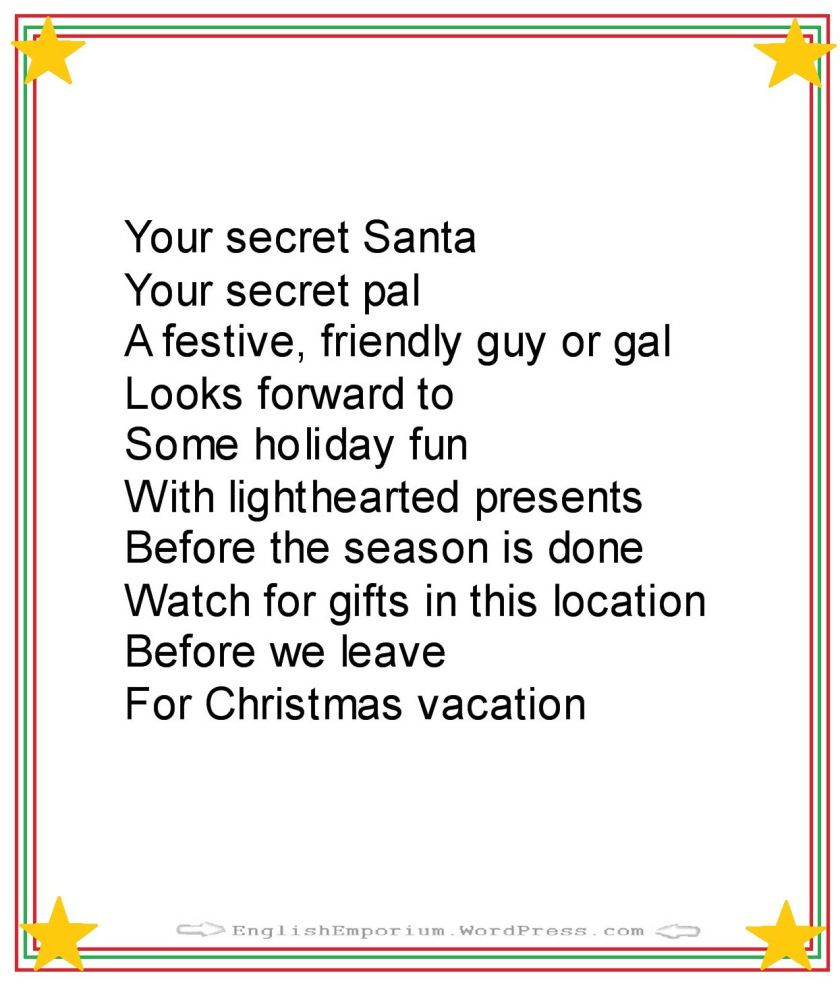 Christmas poem for secret santa first gift christmas pinterest christmas poem for secret santa first gift kristyandbryce Image collections