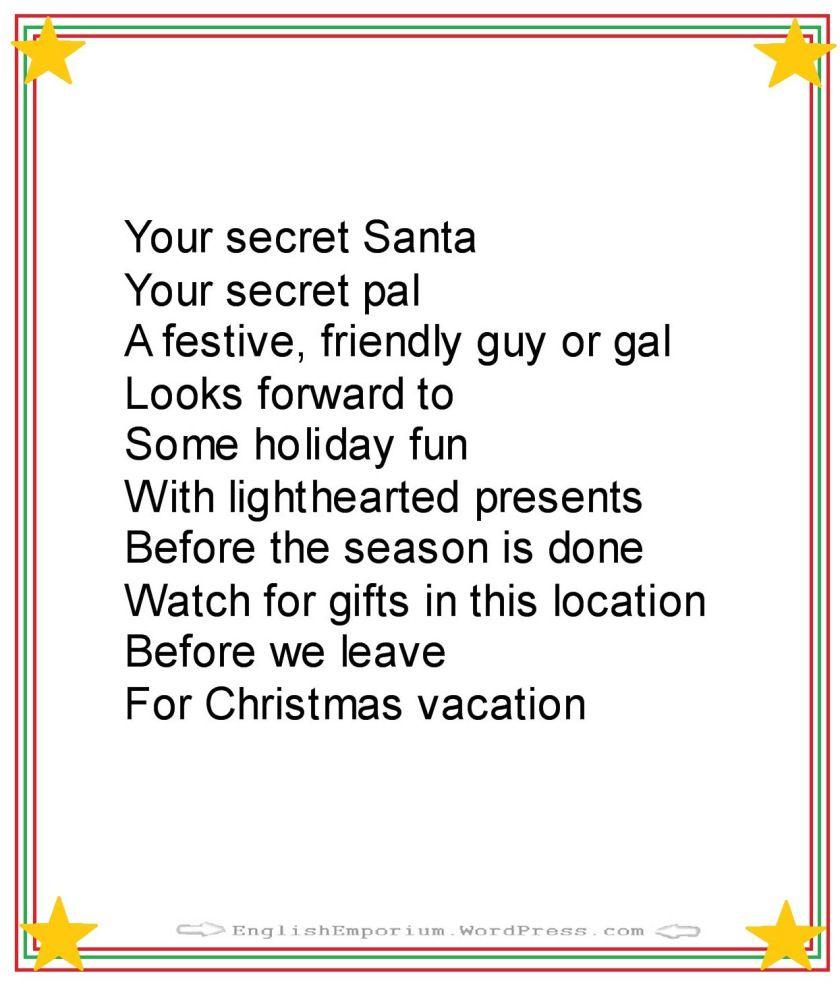 Christmas poem for secret santa first gift christmas pinterest christmas poem for secret santa first gift kristyandbryce Gallery