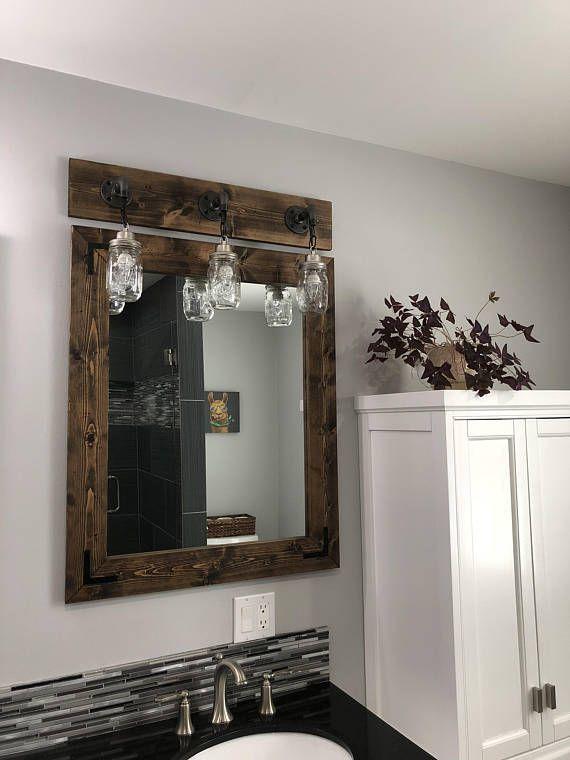 Espresso Farmhouse Mirror Country Wood Frame