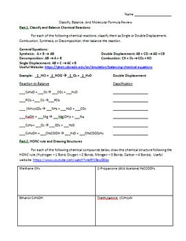Classify Balance And Molecular Formula Review High School