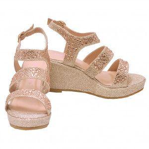 eb59948d2f5 Bella Marie Girls Champagne Glitter Rhinestone Wedge Sandals 11-4 Kids