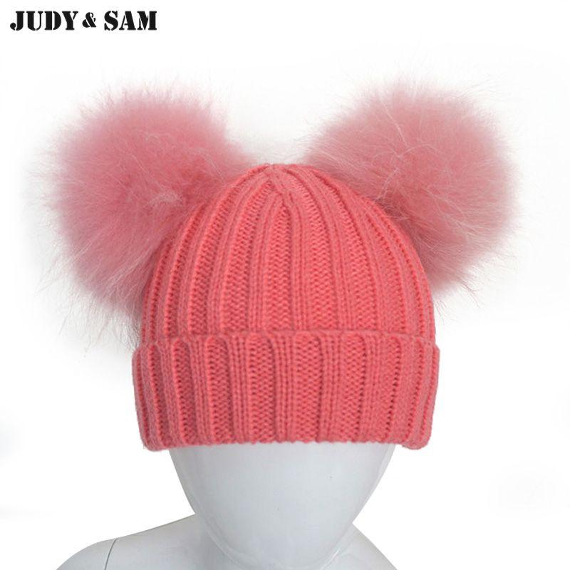 be7a9a61d Judy & Sam Big Echt Fell Pom Pom Hut für Jungen und Mädchen Super ...