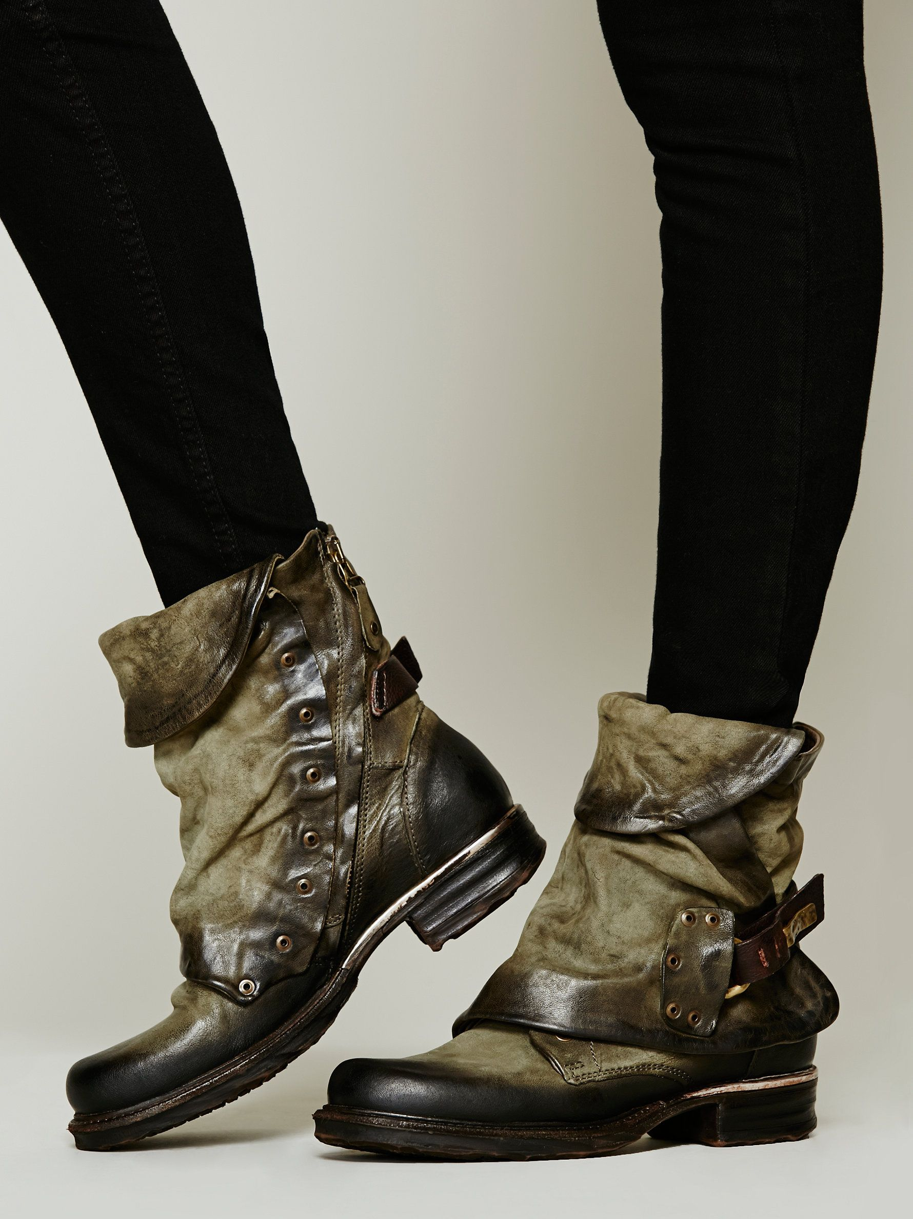 9f8c5b1db9b81 Emerson Ankle Boot   This re-invented work boot by A.S.98. combines  distressed leather, hammered hardware, and a hidden lace-up . Side zipper  and buckle.