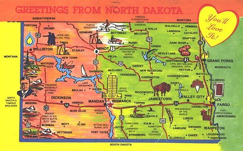 North Dakota State Map Postcard North dakota Post card and Buckets