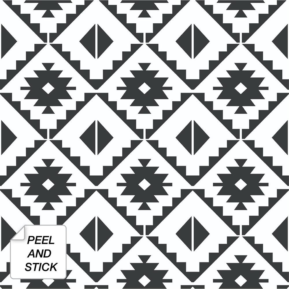 Nextwall Southwest Tile Black Vinyl Strippable Roll Covers 30 75 Sq Ft Nw34200 The Home Depot Peel And Stick Wallpaper Vinyl Tile Peel And Stick Tile