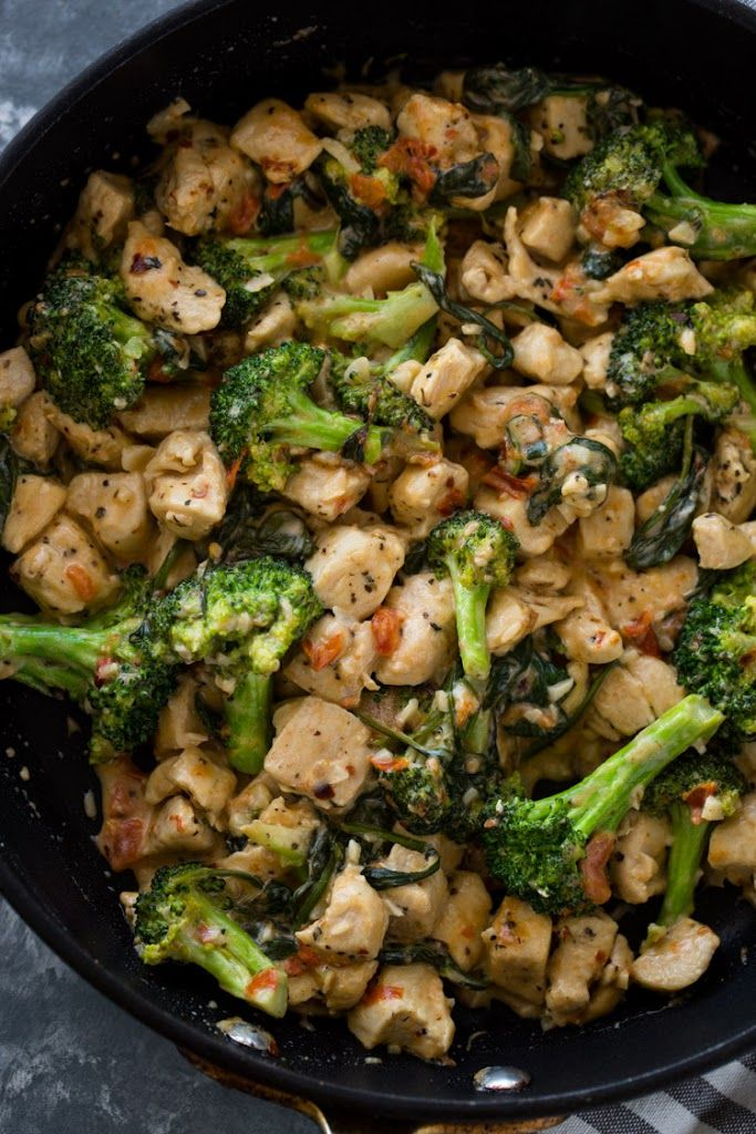 15 Minute Keto Garlic Chicken with Broccoli and Sp