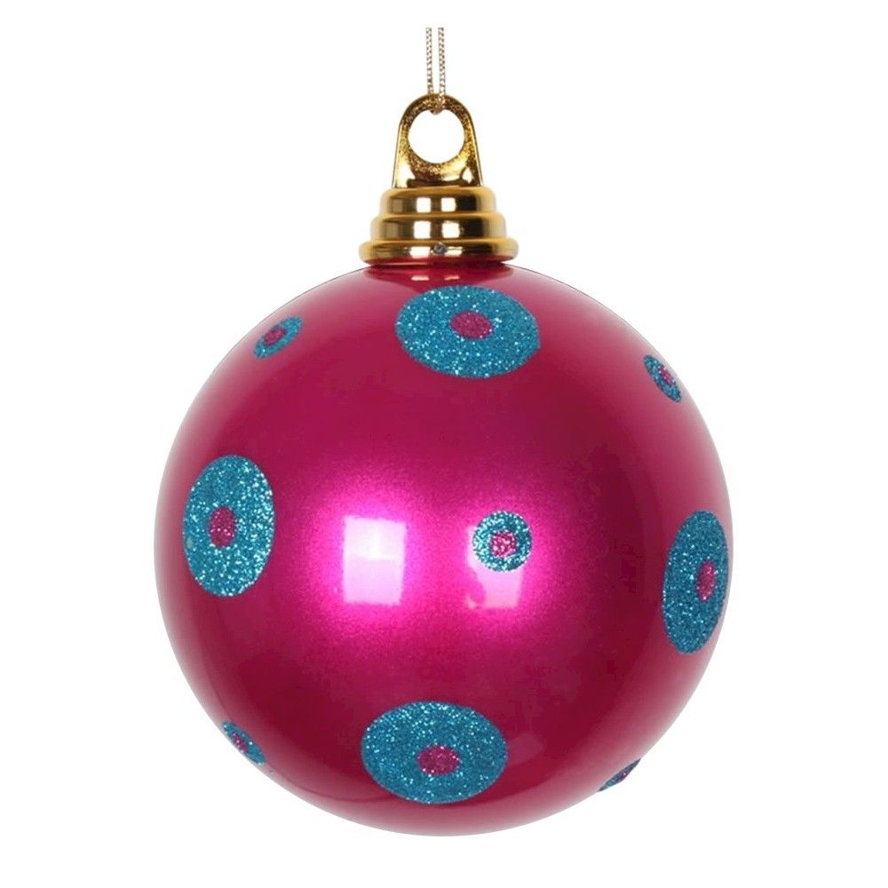 4ct Cerise/Turquoise Polka Dot Candy Ball Christmas Ornament Set, Pink