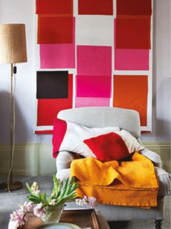 hang fabric as art | pop of black