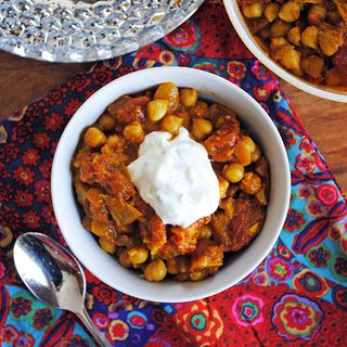 Easy Chana Masala with Cucumber Raita http://www.prevention.com/food/10-healthy-chickpea-recipes/easy-chana-masala-cucumber-raita