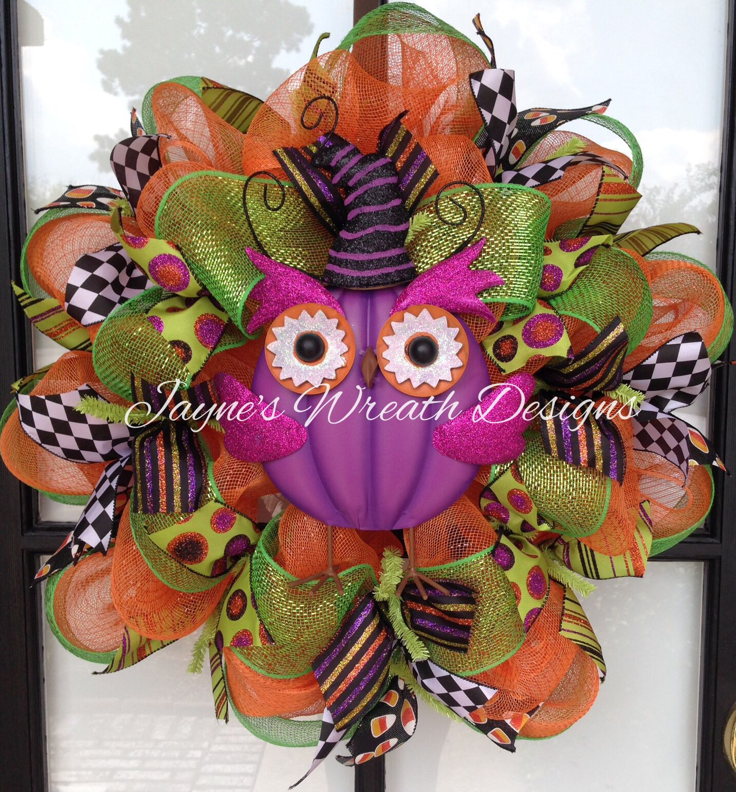 Halloween Wreath With Pumpkin Owl