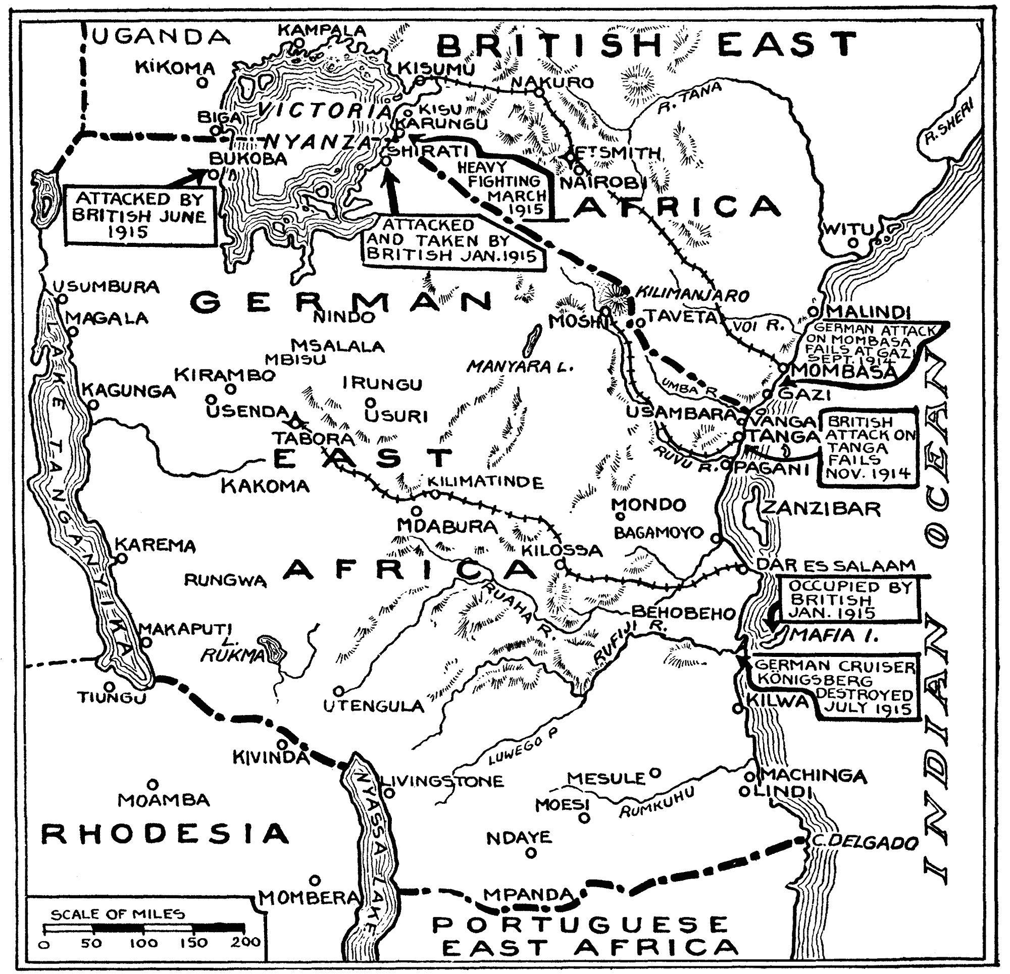 german east africa map 1914