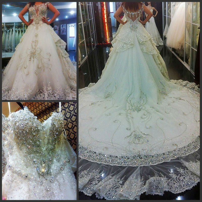 Extravagant Princess Wedding Dresses : Extravagant rhinestones beaded deep v bodice sequins lace