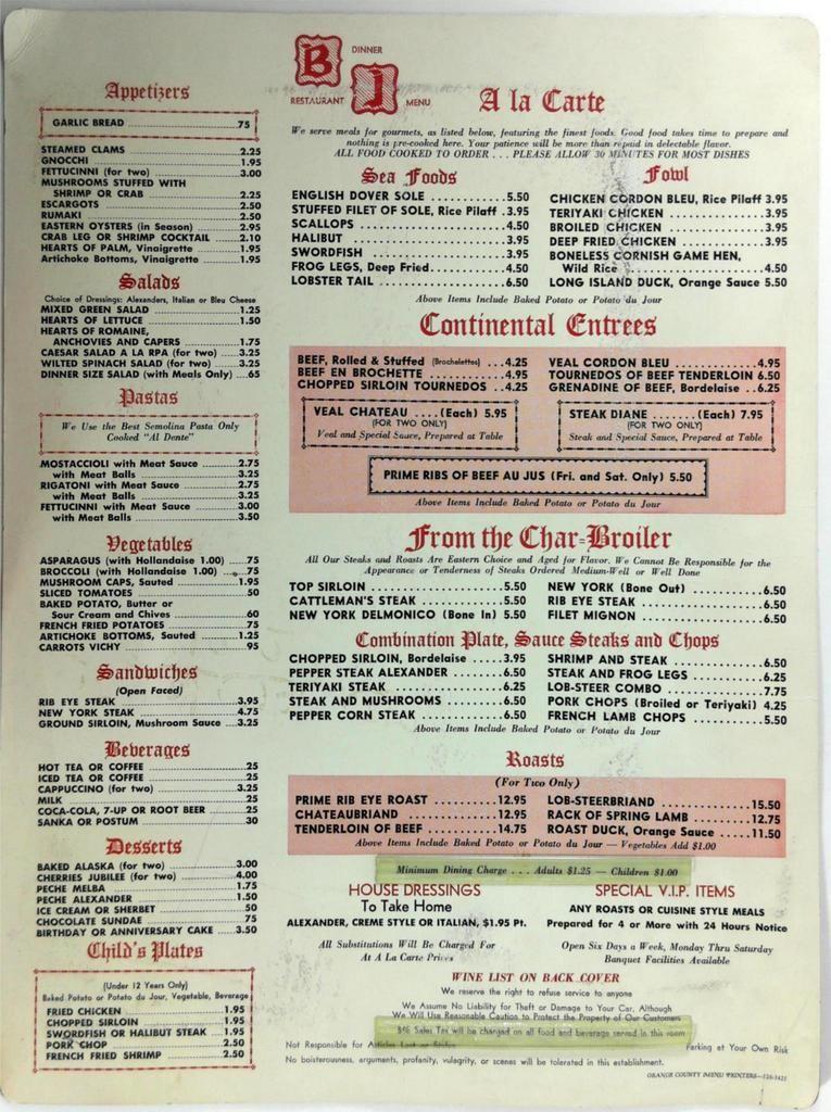1960's Large Menu THE BRANDING IRON Steak House Restaurant