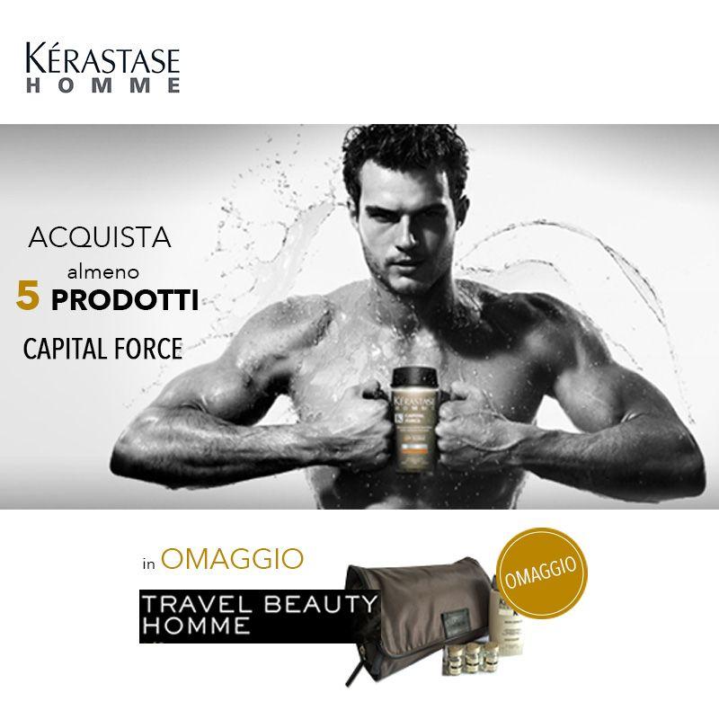 Acquista almeno 5 prodotti Kérastase Homme-Capital Force e avrai in omaggio un Travel Beauty... perfetto per i tuoi viaggi di lavoro o per le vacanze! http://en.sereni.net/catalogsearch/result/?q=capital+force Strength for #hair!  #promo #travelsize #formen