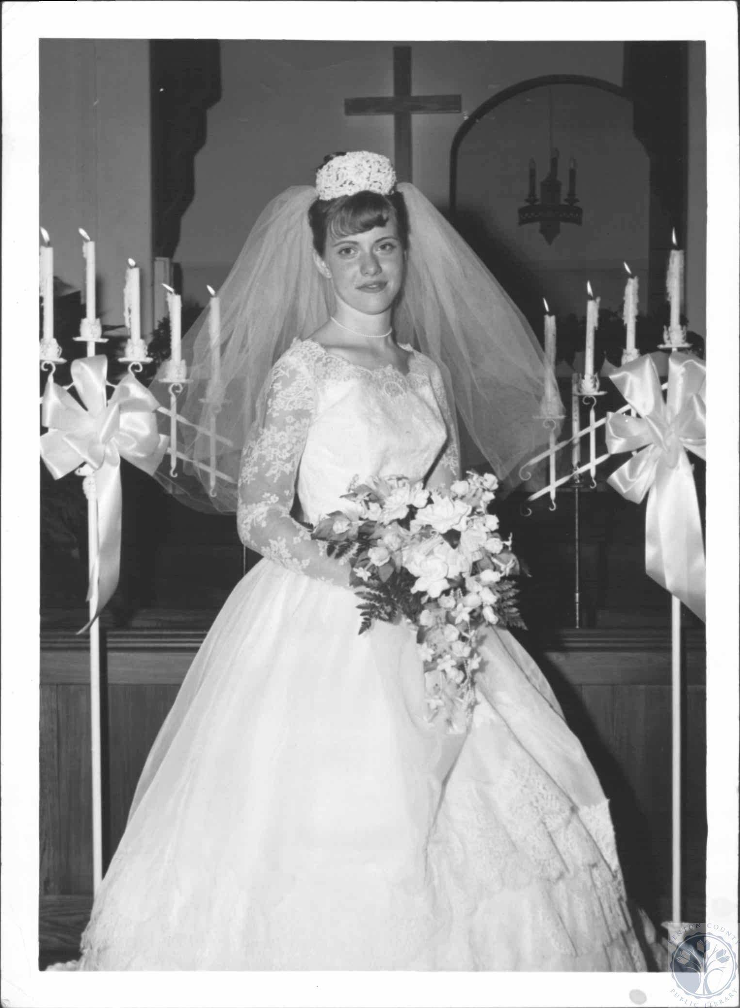 Mrs. Larry W. Walters at First Baptist Church, wedding photo. 1965 ...
