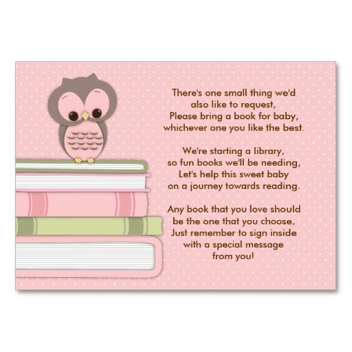 Pink Owl Baby Shower Book Insert Request Card  Pink Owl And Babies