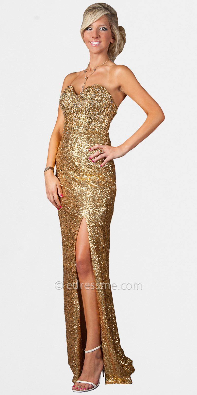 Gold Strapless Sequin Prom Dresses by Temptation - Essential Prom ...