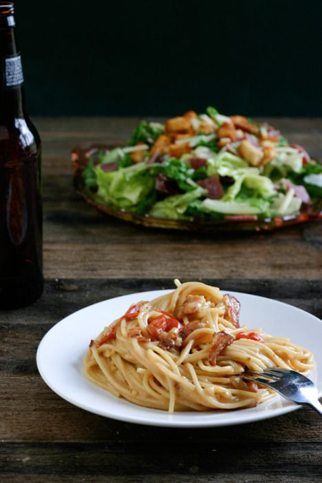 nourishmentforthesoul:  Bacon and Beer Carbonara   The Family Kitchen
