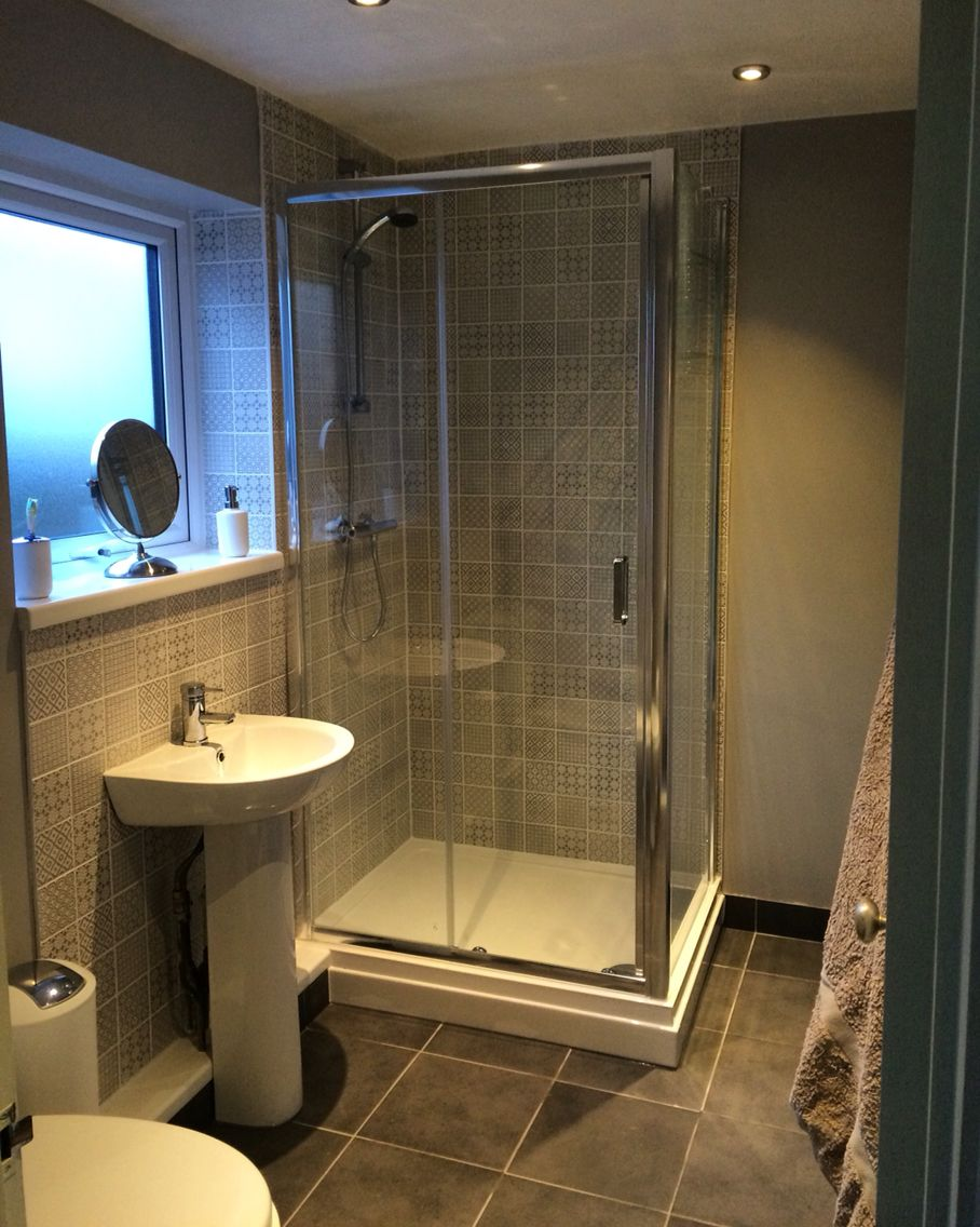 Grey Batik Tiles from Topps Tiles with Chic Shadow Dulux Paint! Small bathroom/shower room!