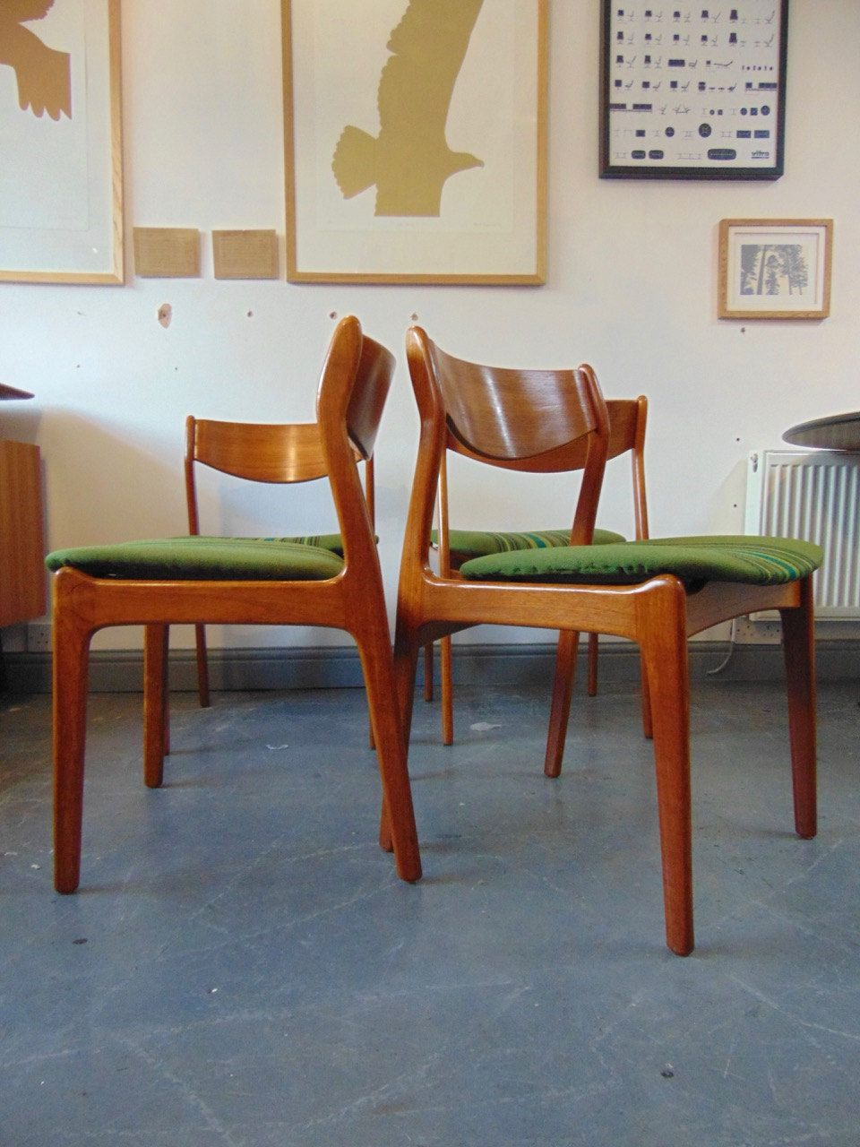 Vintage Danish Teak Seat Of Four Dining Chairs By PEJorgensen For Farso Stolefabrik 1960s