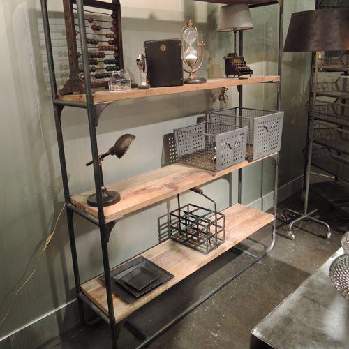 etag re en bois et m tal 4 tag res edison chehoma. Black Bedroom Furniture Sets. Home Design Ideas