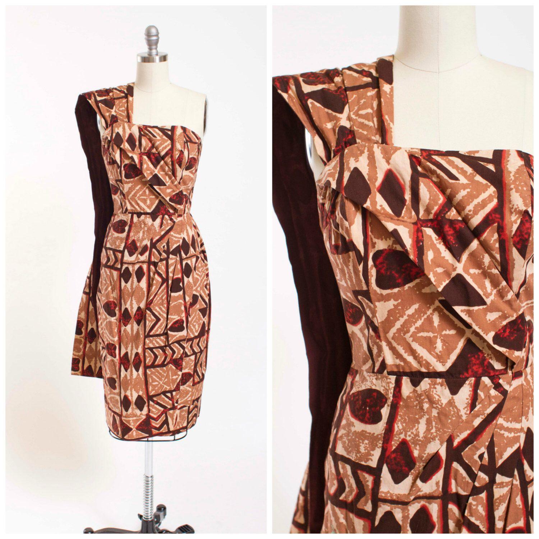 Vintage 1950s Dress • Wiki Wiki • Brown Hawaiian Tiki 50s Vintage ...