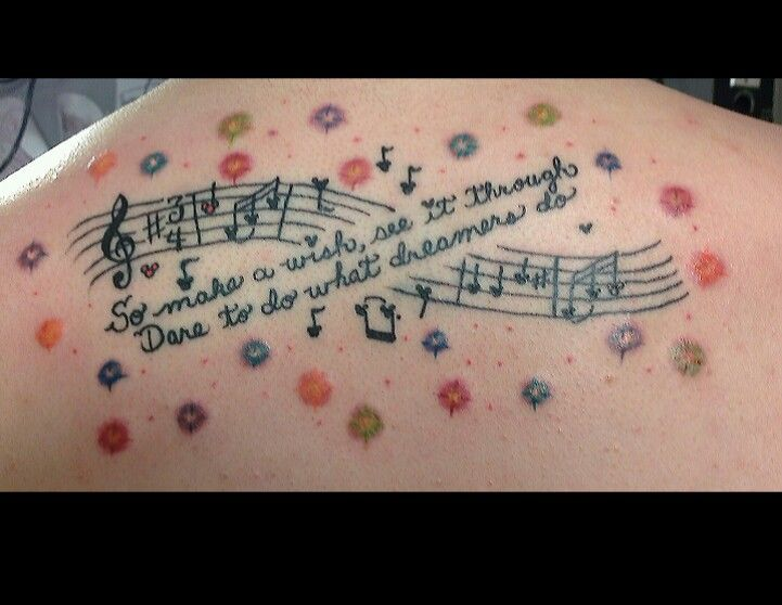 My Daughters Newest Tattoo Lyrics From Our Favorite Walt Disney World Firework Show Wishes At