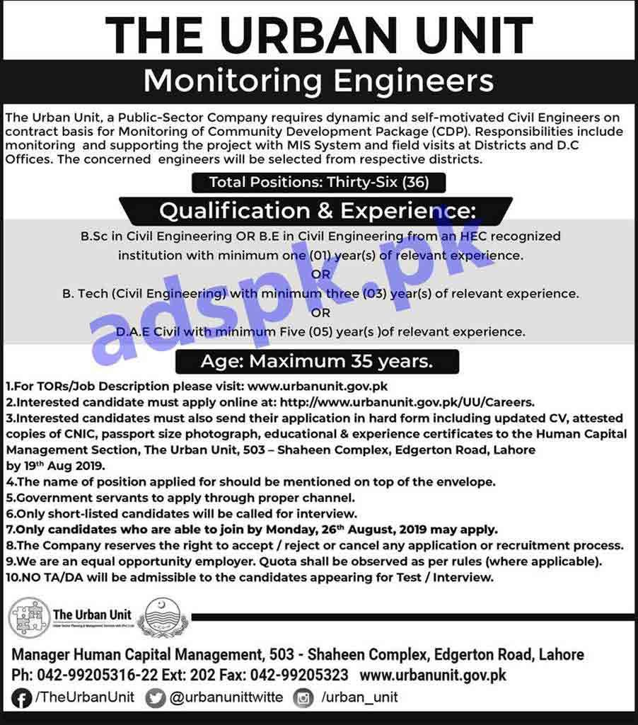 36 Monitoring Engineers Jobs Urban Unit Lahore Jobs 2019 for