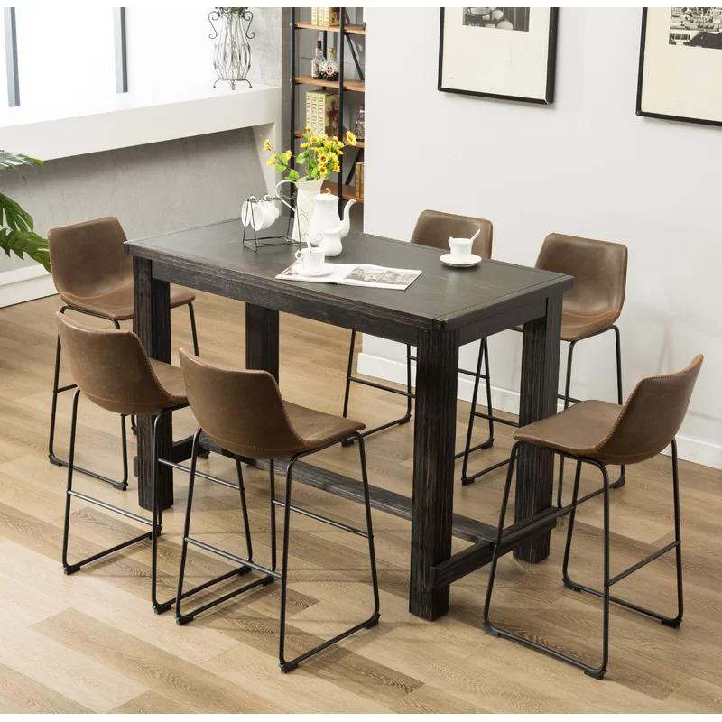 Trent Austin Design Bamey 7 Piece Solid Wood Dining Set Reviews Wayfair Pub Table Sets Solid Wood Dining Set Wood Dining Table