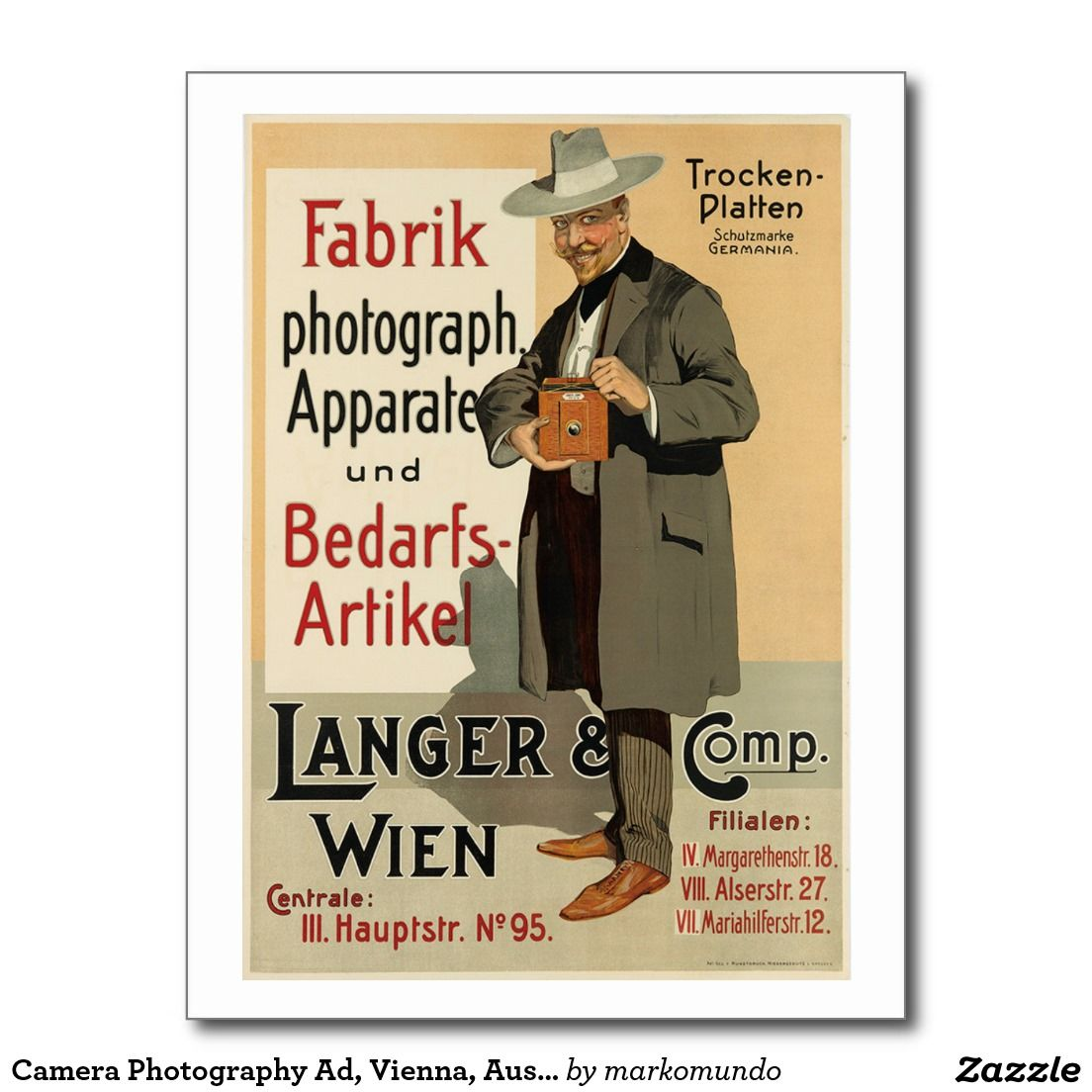Camera Photography Ad, Vienna, Austria Vintage Postcard