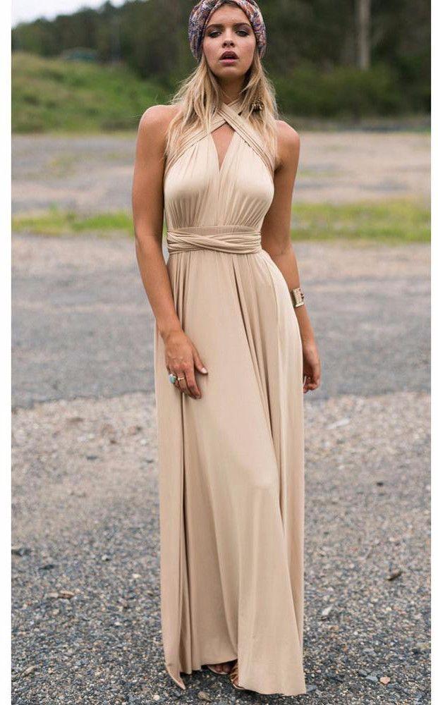 604559bae9 Khaki Bandage Long Sexy Multi-way Convertible Maxi Dress