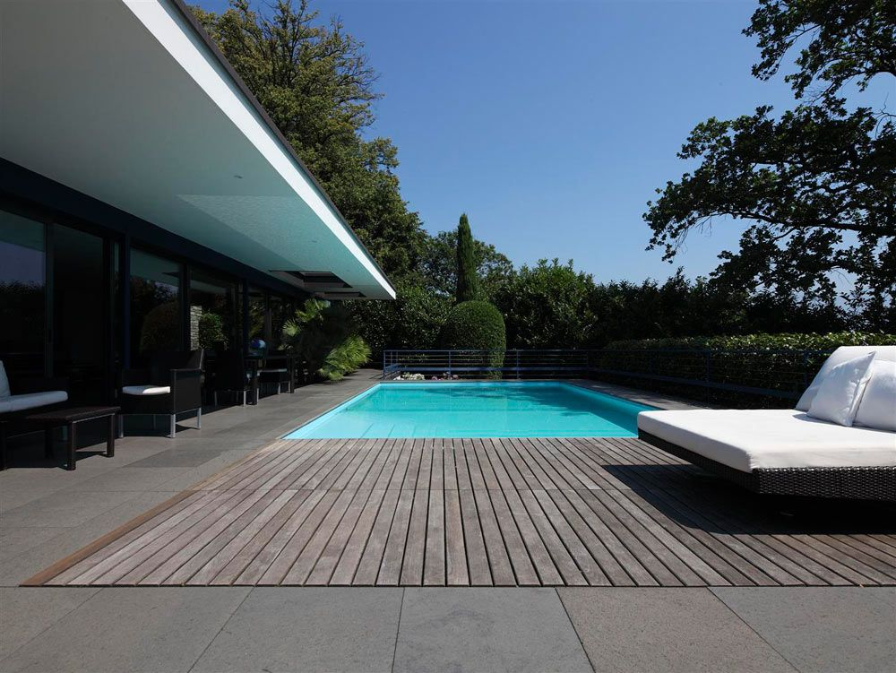 Pool Design Among Wooden Deck Flooring Also Modern Outdoor Furniture Decor  Used Glass Wall Ideas Design