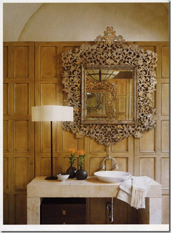 McAlpine.  Wonderful countertop and mirror.  Beautiful paneling and ceiling.