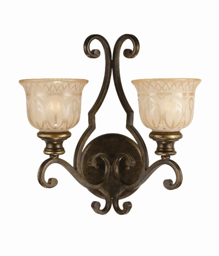 Illuminate a hallway or entryway with this elegant two-light wall sconce. It has has two patterned amber light shades, which will provide a soft glow to any room, and it is constructed of wrought iron for added durability and beauty.