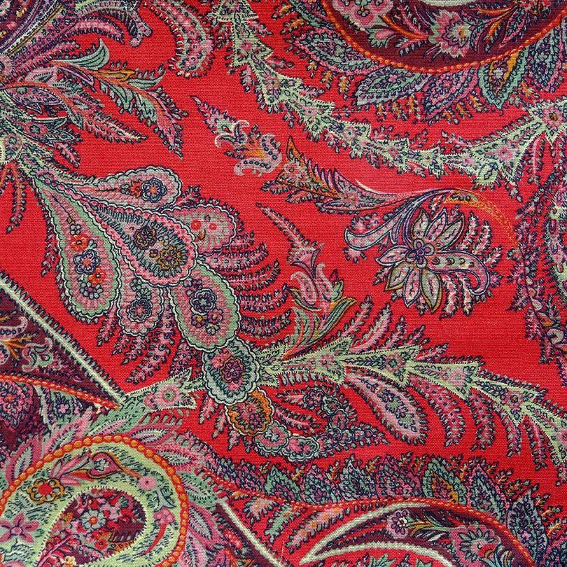 Tissu au mètre, coton /lin imprimé rouge et multicolore ...