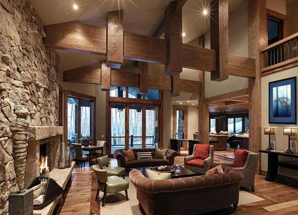 Decoración rústica con vigas de madera y piedra Vigas de madera