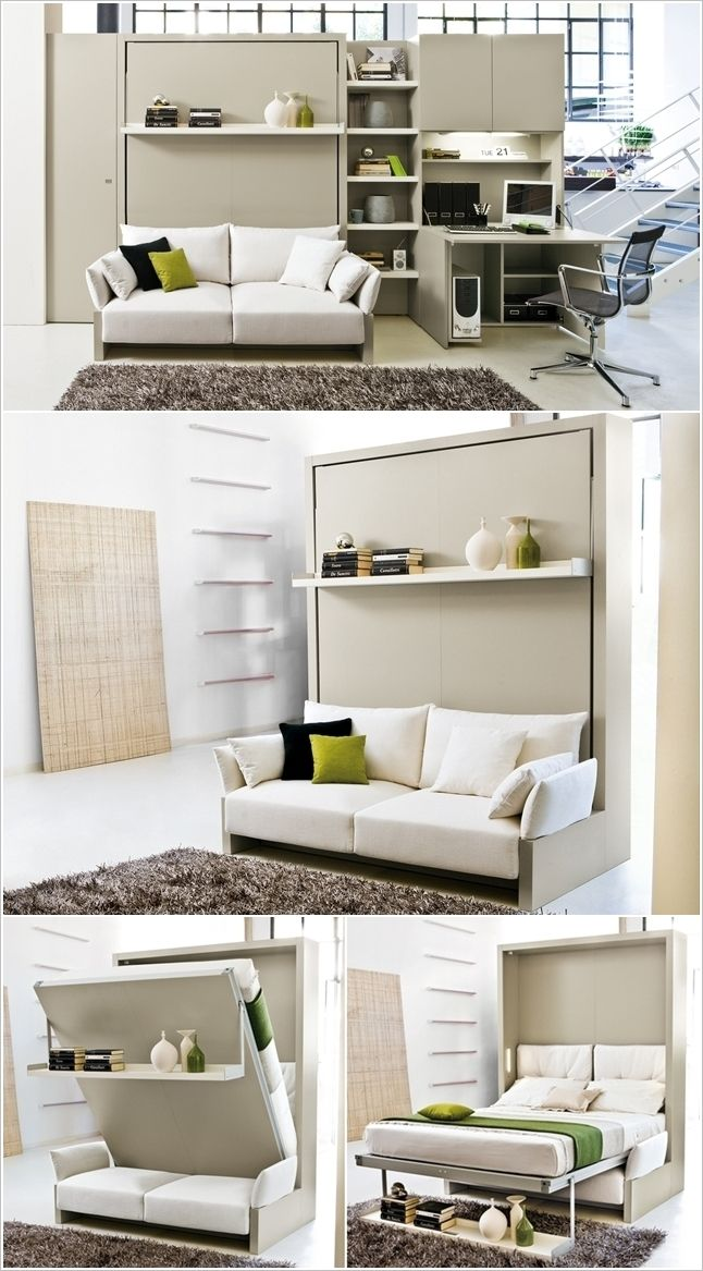 A Murphy Bed with a Sofa and Wall Having a PullOut Desk