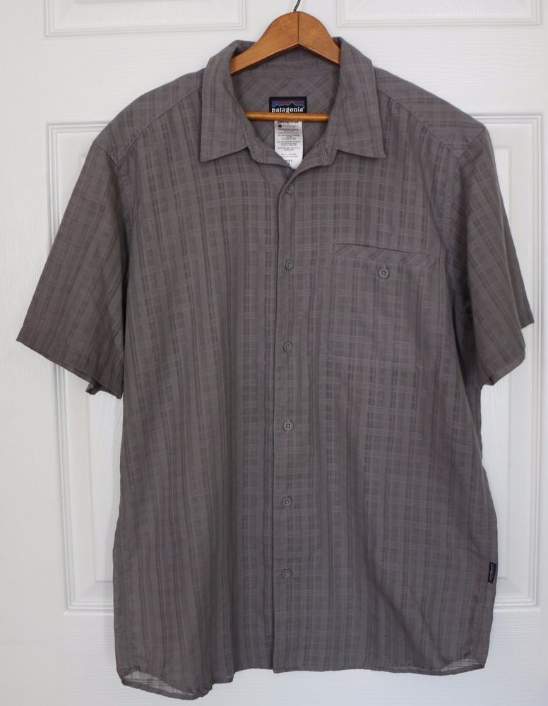 Men's PATAGONIA Short Sleeve Button Front Shirt Plaid Solid Gray Size MEDIUM  #Patagonia #ButtonFront