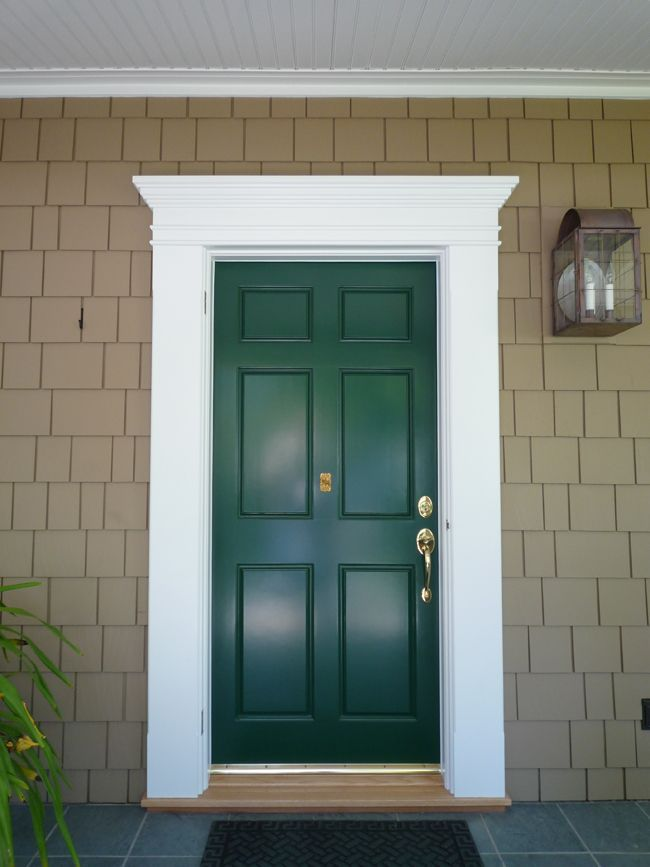 Example of front door kit with flat columns and flat - Installing prehung exterior door on concrete ...