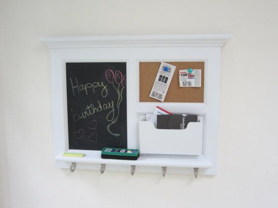 Beautiful hand crafted white wall mail organizer featuring for Cork board organizer