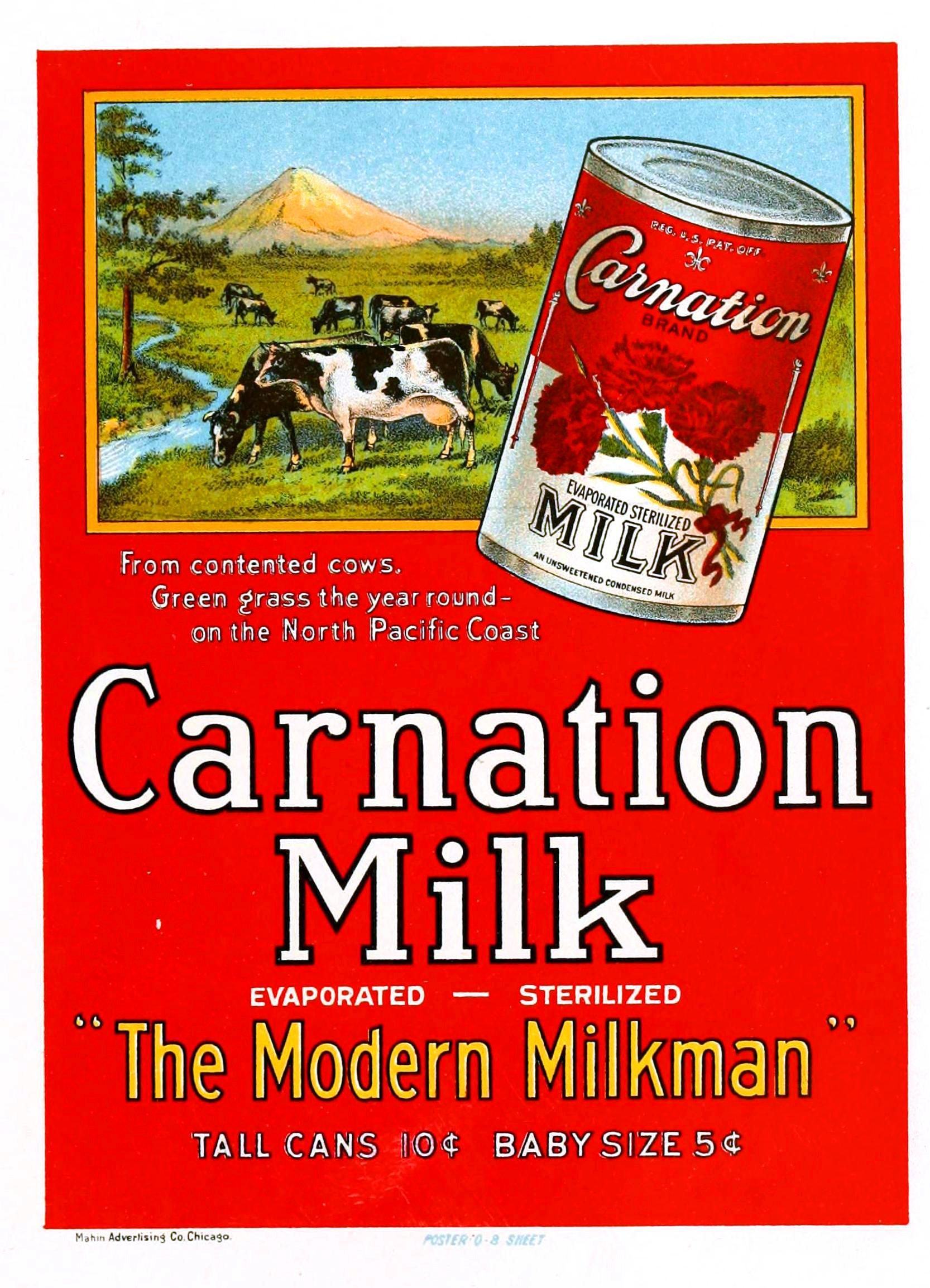 Carnation milk Old Advertising Poster reproduction