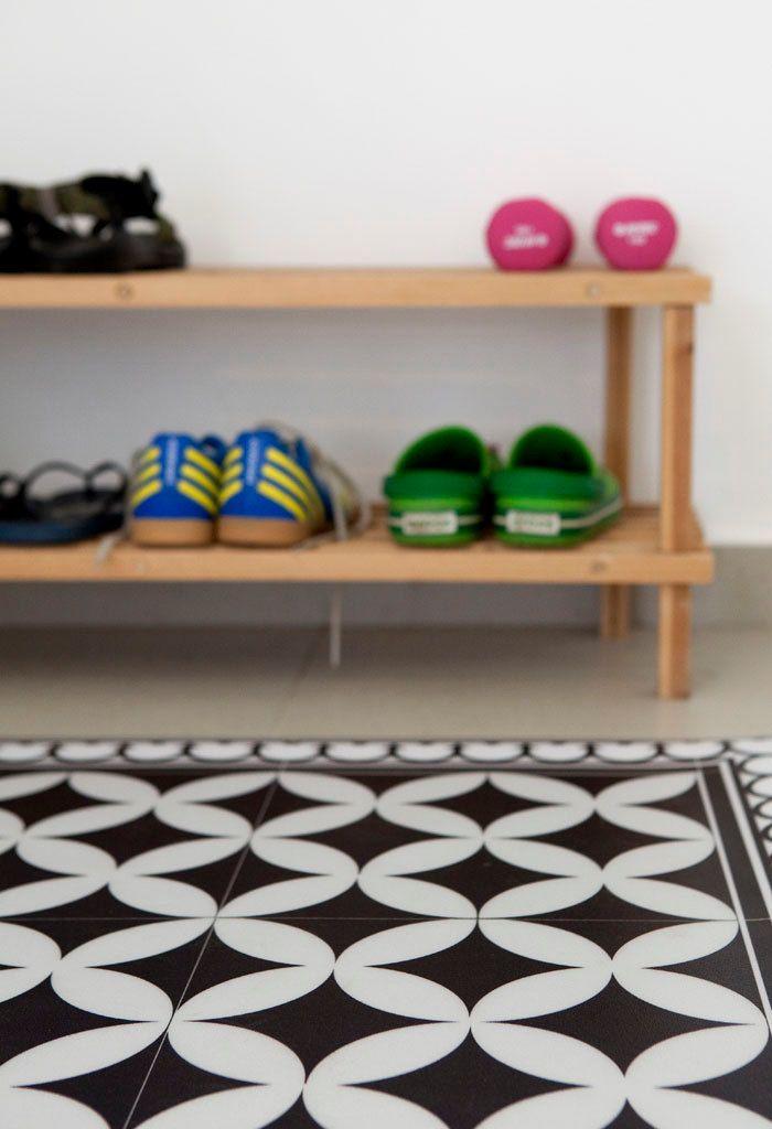 Black White Livingroom Vinyl Mat Maroccan Design Tiles Etsy White Kitchen Rugs Vinyl Tile Vinyl Rug