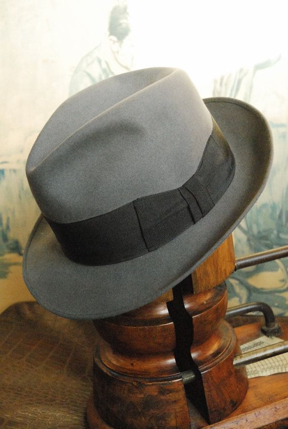58ffa0bab967d6 Vintage 60's German Made Grey Stetson Fedora Hat UK 7 1/8 on Etsy, $39.99