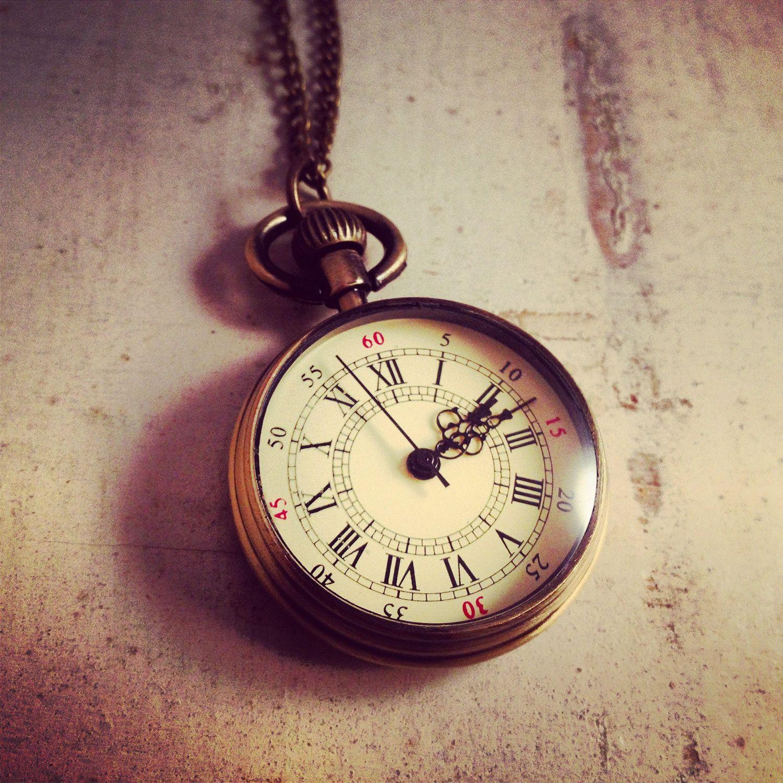 Antique pocket watch  1 Pc Round Pocket Watch Necklace Pendant Simple Round Antique ...