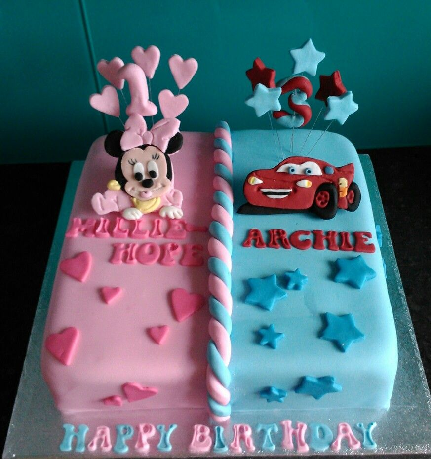 Superb Baby Minnie Mouse And Cars Half And Half Girls And Boys Cake Birthday Cards Printable Trancafe Filternl