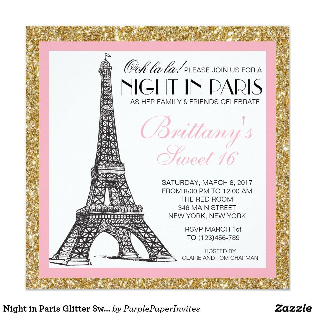 Night in Paris Glitter Sweet 16 Custom Invitation | { Happy Birthday ...
