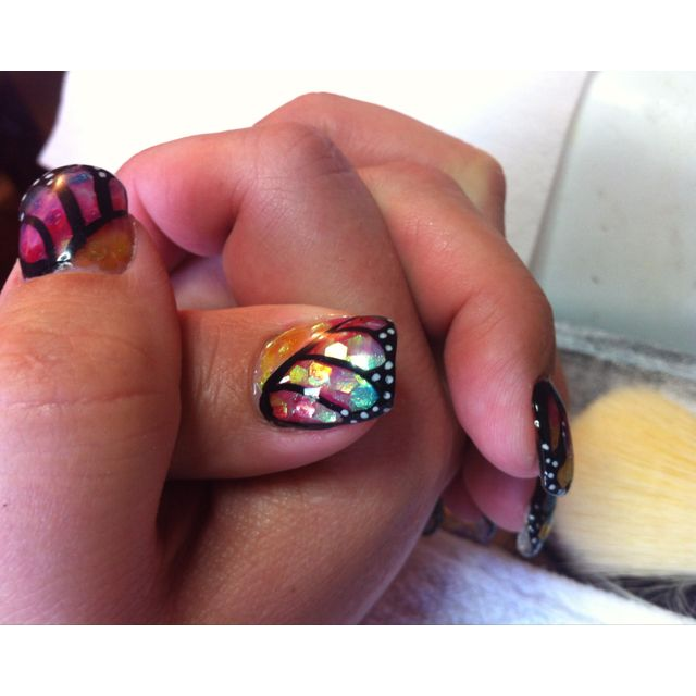 Amazing prismatic butterfly wing ~ Gel nails   Nail Art - Too bad I ...